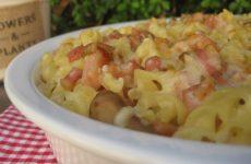 Um prato fácil e rápido de fazer que pode deixar preparado de véspera Massa Gratinada com Fiambre Bacon e Cogumelos