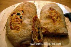 Pão recheado com queijo presunto e azeitonas muito fácil de fazer e ficou mesmo uma delicia